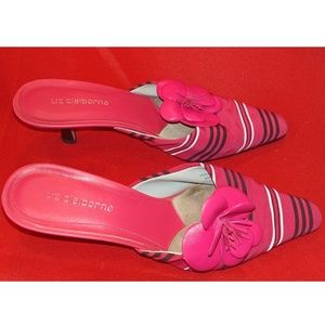 Pink stripped slip ons